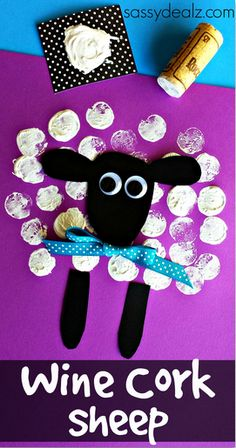 Wine Cork Sheep Craft for Kids #Easter craft | CraftyMorning.com