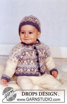 """Giacchino in stile norvegese e cappello in """"Baby Merino"""" e coperta in """"Karisma Superwash """" ~ DROPS Design"""