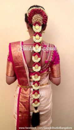 South Indian Wedding Hairstyles, Bridal Hairstyle Indian Wedding, South Indian Weddings, Indian Wedding Outfits, Indian Hairstyles, Hair Design For Wedding, Wedding Hair Inspiration, Saree Hairstyles, Bride Hairstyles