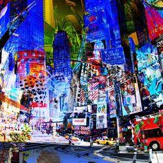 CÉDRIC BOUTEILLER - Recherche Google Collage, City Scene, Contemporary Artists, Amazing Art, Manhattan, Beautiful Flowers, Times Square, Sculptures, Painting