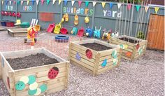 outdoor play areas - Dirt, Sand, and Toy Storage.