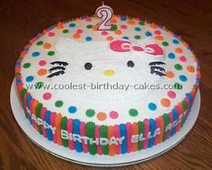 "I want this cake for Sav's bday!     Directions from www.coolest-birthday-cakes.com  This Hello Kitty birthday cake was made using 14"" Wilton cake pans. Various star tips and buttercream icing were used to decorate the side of the cake. The Hello Kitty face was outlined with a large round tip and filled with a star shaped tip. Quite easy to make and decorate. The birthday girl adored it."