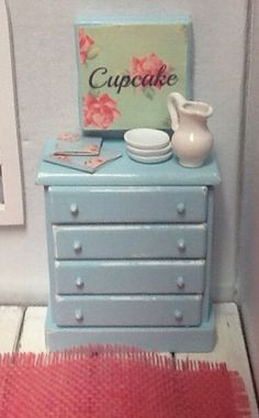 Miniature Dollhouse Shabby Blue Dresser