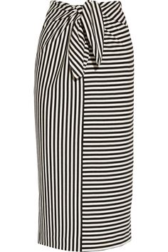 TIBI Ren Striped Cotton-Blend Jersey Skirt. #tibi #cloth #skirt