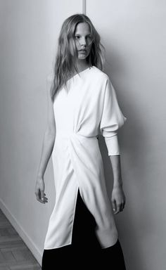 Chic Simplicity - white one shoulder dress; minimalist style // Chloe Spring 2015 | @andwhatelse