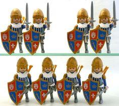 playmobil 8 lot knight crusader shield figure gold custom 5166 rare new army #PLAYMOBIL