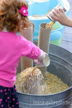 Chicken Food Sensory Bin ~ Sensory Activity for Toddlers. Great sensory activity for preschoolers to explore with their sense or touch, sound and engineering skills.