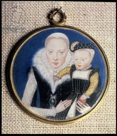 Portrait miniature of Lady Katherine Seymour, nee Grey (c.1538-68) Countess of Hertford, holding her infant son and wearing her husband's mi...