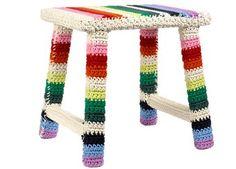 big square crochet stool