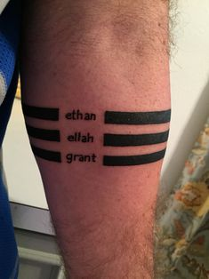 "Forearm bands tattoo with my children's names! Thanks, Pete ""Jersey"" Gandolfo!!!"