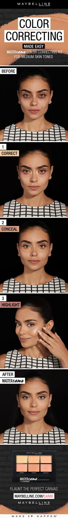 Color correct has finally been made easy! Get flawless skin thanks to the all NEW Maybelline Master Camo Color Correcting Kit. This simple 3 step beauty tutorial shows you how it's done. The apricot corrector in the medium palette color corrects dark spots, while the concealer blends easily to match your skin tone. Finally, the highlighter accentuates your features with a touch of shimmer, so you can create the perfect base for instant results.