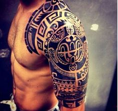 The symbolic identity of the Marquesan tattoo - tattoo mot .- Die symbolische Identität des Marquesan-Tattoos – Tattoo Motive The symbolic identity of the Marquesan tattoo - Tribal Shoulder Tattoos, Mens Shoulder Tattoo, Tribal Sleeve Tattoos, Polynesian Tattoo Designs, Tribal Tattoo Designs, Tattoo Sleeve Designs, Samoan Designs, Design Tattoos, Tribal Tattoos For Men