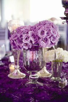purple roses wedding centerpiece via Jen Kroll Photography   Deer Pearl Flowers