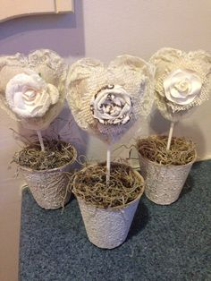 No-Sew Fabric Hearts in Peat Pots - HMLP Feature Home Matters Linky Party  #HomeMattersParty