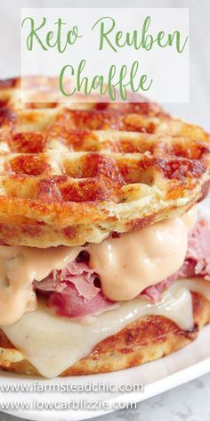 The perfect grilled, buttery Chaffle bread, shaved corn beef, juicy sauerkraut, melty Swiss cheese and Thousand Island dressing make this Keto Reuben Chaffle taste better than the real thing without all the harmful additives and questionable ingredients. Low Carb Keto, Low Carb Recipes, Diet Recipes, Cooking Recipes, Healthy Recipes, Recipes Dinner, Sugar Free Recipes, Low Carb Desserts, Sausage Recipes