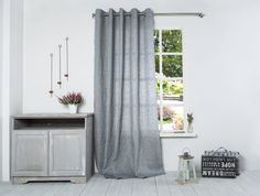 Linen Curtain-Grey Linen Curtain-Linen Window by LinenHomeDecor