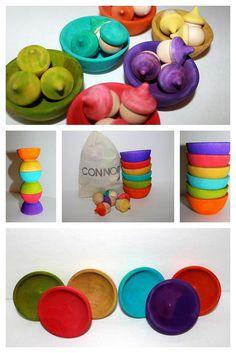 Montessori educational learning and sorting acorn game