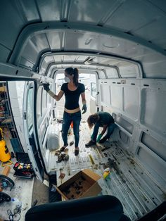 My interviews tend to focus on the people who live in tiny homes and less  on how people design their tiny homes. But I've had several people tell me  that they'd like to learn more about the process of converting a vehicle  into a tiny home.  Photography is important when chronicling a process like this, and I knew  the couple behind Home Sweet Van would be a perfect fit.  When Juliana & Richie first met, they learned they had a few things in  common, including the idea of taking a year off…