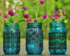 Bohemian Vase or Lantern Silver Metal Accented by LITdecor on Etsy