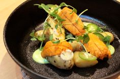 New favorite dish added by Contributing Chef Joanne Weir of Copita. #Uni, #dry #farmed #potato, #jalapeno, & #scallion from TBD Restaurant. Check out her review on chefsfeed.com. #seafood #heath #fire #cooking #embers #appetizer #raw #eat #hungry #food #nom #instagood #dinner #sf #chefsfeed