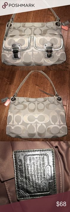 Coach Great UC! Great pre loved Coach medium size shoulder bag. Extremely clean inside and out. Little if any marks (none i could find anyway). Strap is starting to lose some of its bright silver shine coating but not very noticeable-blends with colors of the bag. Coach Bags Shoulder Bags