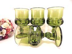 Green Wine Glasses 4 Vintage 1960s Indiana Glass Kings Crown Thumbprint Stemware