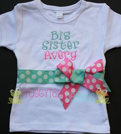 Monogrammed Big Sister Shirt in Aqua and Hot by FroggytaleDesigns, $25.00