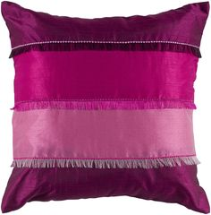 "Piecing Fringe and Embroidered Pink Pillow Cover (18"" x 18"")"