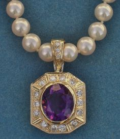 18 Karat Yellow Gold Oval Amethyst and Round Brilliant Diamond Pearl Enhancer/Chain Necklace Enhancer. A Ben Salomonsky Design (BSJ-104/OV). www.BenSalJeweler.com
