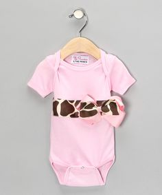 The princess and the prince-Light Pink Giraffe Bow Bodysuit - Infant