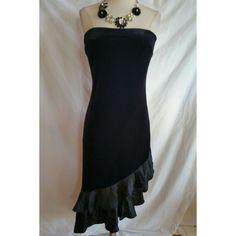 PHOEBE Size 4 Black Velvet Strapless Dress Cocktail Evening #PhoebeCouture #Cocktail