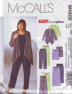 McCall's 4606 size18 20 22 24 2x 3x Women's Pants, Skirt, Dress M4606