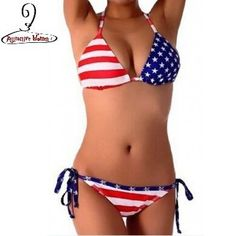 American Flag Pride 2 PC Triangle Halter Top w/Side Ties Bikini Set 2 Styles S-L