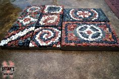 How To Make Mosaic Rock Pavers for Your Garden-used  plastic garden trays!