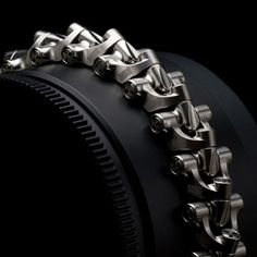Rogue Breacher™ Product: Limited Edition Bracelet Material: Mil-Spec Aerospace-Grade Titanium Processes: machined from billet block, etching Finish: Zero hand finishing / Calculated tool-paths Dimensions: LINK WIDTH: LINK HIEGHT: Hard Surface Modeling, Mechanical Design, Bracelets For Men, Metal Art, Concept Art, Jewelry Design, Design Inspiration, Cool Stuff, Guy Stuff