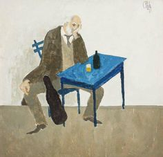 The Violonist - Constantin Piliuta Romanian, post-impressionim Art Database, Day Wishes, Musical, Impressionism, Painting, Romania, Table, Post Impressionism, Twine