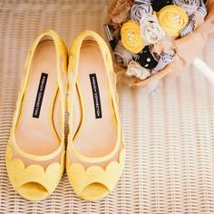 Yellow Scalloped Heels & DIY Bouquet | Mark Mirocha Photography | TheKnot.com