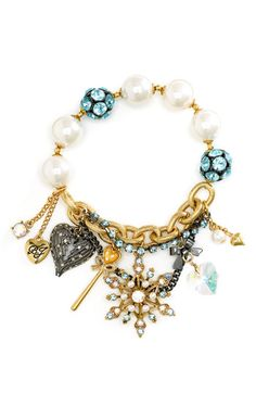 Dance Ankle Bracelets with Charms | Betsey Johnson – Ski Bunny Pink Pearl Charms Bracelet (Pink