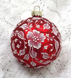 Red Sparkly Hand Painted White MUD Texture Floral Design Ornament 301 by MargotTheMUDLady on Etsy SOLD!
