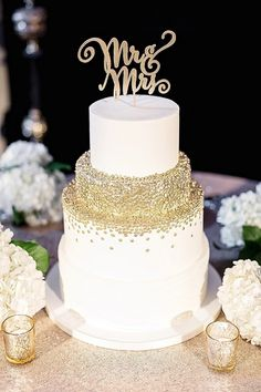 Gold Sequin Wedding Cake with a Glitter Cake Topper   Mary Otanez Photography on @tidewatertulle via @aislesociety