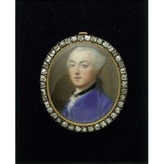 Enamel miniature - Enamel portrait miniature of an unknown man 1757 Gervase Spencer Clients often ordered a portrait both in miniature (watercolour on ivory) and in enamel. Unlike miniatures, enamels were richly coloured and tough and durable. This enamel is expensively set with diamonds. The frame has a series of holes at the top and bottom so that it could be sewn to a ribbon, and is slightly curved so it can be worn comfortably on the wrist.