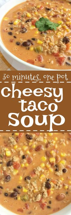 This easy cheesy taco soup take just minutes to prepare! Brown some ground turkey with spices and combine it with six cans. Melt some Velveeta cheese into it and you have a smooth, creamy, and super delicious quick dinner. Mexican Food Recipes, Soup Recipes, Cooking Recipes, Healthy Recipes, Velveeta Recipes, Cheese Recipes, Easy Recipes, Chicken Recipes, Dinner Recipes