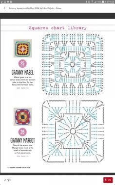 from Granny square collection 2016 Crochet Mandala Pattern, Granny Square Crochet Pattern, Crochet Blocks, Crochet Cross, Crochet Diagram, Crochet Chart, Crochet Squares, Crochet Patterns Amigurumi, Crochet Stitches