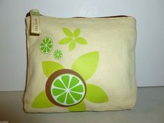 MARY KAY IVORY SOFT COTTON CANVAS TROPICAL COCONUT LIME COSMETIC BAG #MaryKay