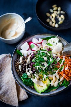 10 clean eating dinner recipes minted lentil veggie bowl with hummus dressi Clean Eating Vegetarian, Clean Eating Recipes For Dinner, Vegan Dinner Recipes, Clean Recipes, Healthy Recipes, Dinner Healthy, Vegetarian Recipes Australia, Cookies Et Biscuits, Snack
