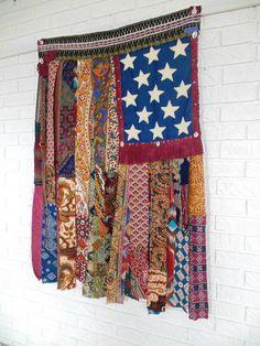 Gypsy Boho AMERICAN Flag Wall Hanging by TheSleepyArmadillo https://www.thesleepyarmadillo.com/