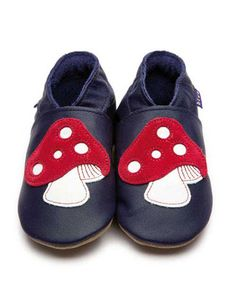 Dark blue baby shoes with mushrooms - Inch Blue