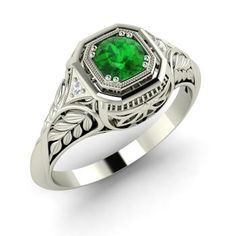 Saskia Ring with Round Emerald, SI Diamond | 0.44 carat Round Emerald  Vintage Ring in 14k White Gold | Diamondere