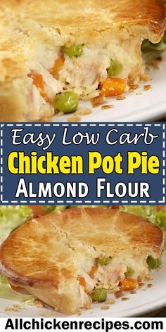 Keto Chicken Pot Pie Keto Chicken Pot Pie – This easy low carb chicken pot pie with almond flour is the ultimate comfort food because it has the amazing flaky crust and the filling is so creamy and delicious perfect for a great weeknight meal. Low Carb Chicken Pot Pie Recipe, Easy Chicken Pot Pie, Keto Chicken, Low Carb Meals Chicken, Grilled Chicken, Cheesy Chicken, Rotisserie Chicken, Chicken Soup, Baked Chicken