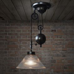 Bennet Ribbed Glass Cone Pulley Pendant Light: Tudo&Co – Tudo And Co Stained Glass Pendant Light, Pulley Pendant Light, Round Pendant Light, Rustic Pendant Lighting, Cabin Lighting, Retro Ceiling Lights, Industrial Ceiling Lights, Ceiling Lamp, Industrial House